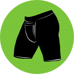 Vasectomy shorts illustration over a green circle